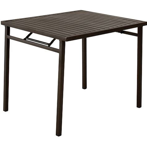 outdoor folding dining table cosco outdoor folding metal slat dining table brown
