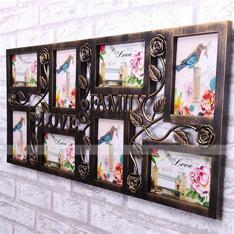 photo frame display bronze color family picture photo frame collage wall