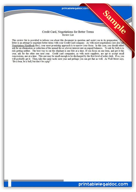 Credit Card Negotiation Letter glossary of terminology printable images frompo 1
