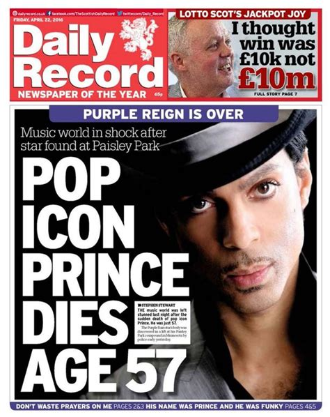 celebrity page today prince dominates the front pages of today s newspapers in