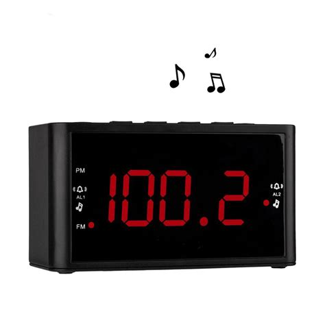 large display dual alarms clock with fm radio battery power sleep timer and snooze 2 dimmer