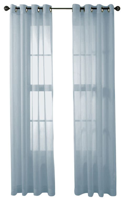 Light Blue Sheer Curtains Hlc Me 2 Sheer Window Curtain Grommet Panels Light Blue Traditional Curtains By