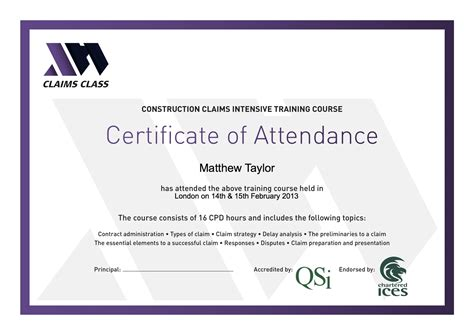 Records Of Certificates Certificate Of Attendance