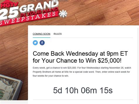 Hgtv 25 Grand In Your Hand Sweepstakes - hgtv 25 grand in your hand sweepstakes