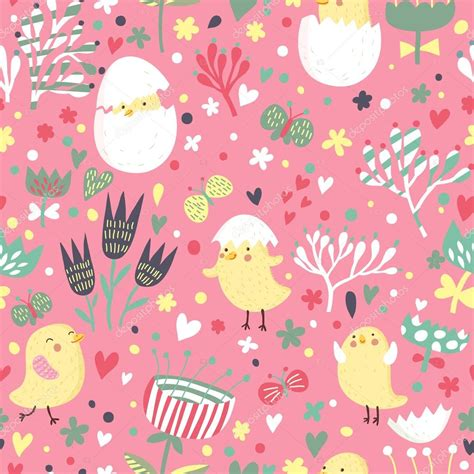 cute seamless pattern wallpaper easter concept seamless pattern cute small chickens in