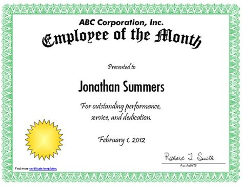 employee of the month certificate templates employee of the month certificate pdfsr
