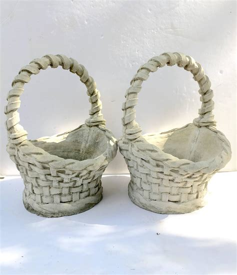 Concrete Flower Basket Planter by Pair Of Concrete Basket Weave Basket Planters For Sale At