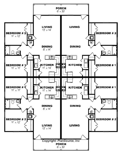4 plex apartment floor plans apartment plan j0124 13 4b 4plex plansource inc