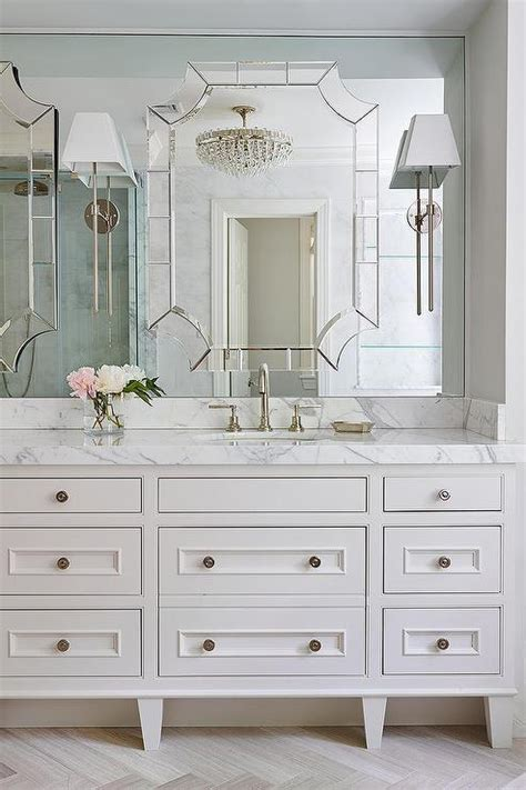 Master Bathroom Mirror Ideas Master Bathroom With Mirror On Top Of Mirror Transitional Bathroom