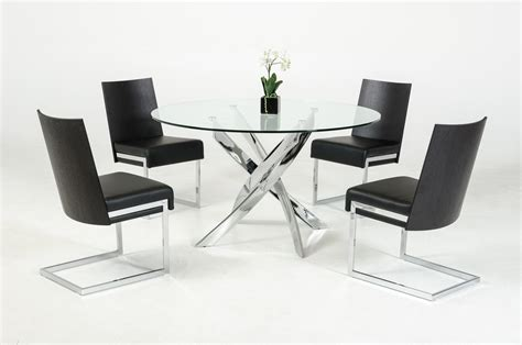 Contemporary Round Glass Top And Stainless Steel Base Dining Table Set Steel