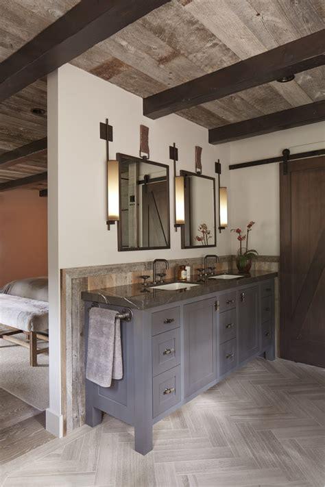 rustic industrial bathroom barn door with mirror bathroom rustic with two sinks two sinks