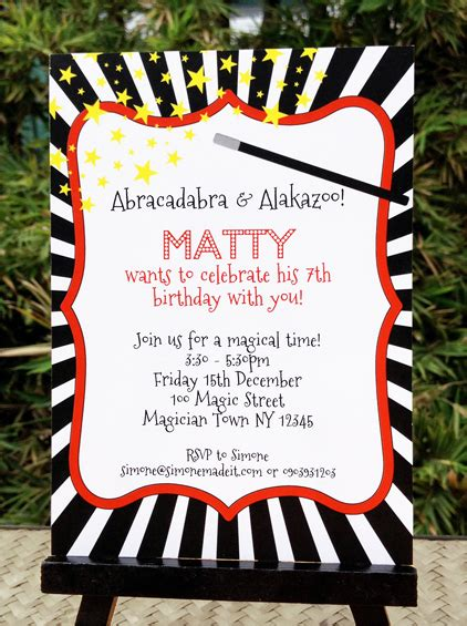 free printable birthday invitations magic theme magic party printables complete birthday party collection