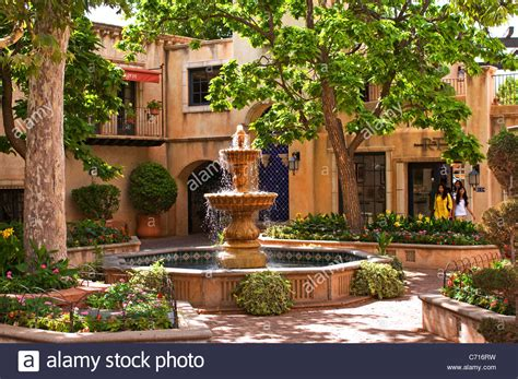 spanish style courtyards spanish style tiered fountain patio courtyard stock photo
