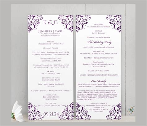 wedding program cards template wedding ceremony program template 36 word pdf psd