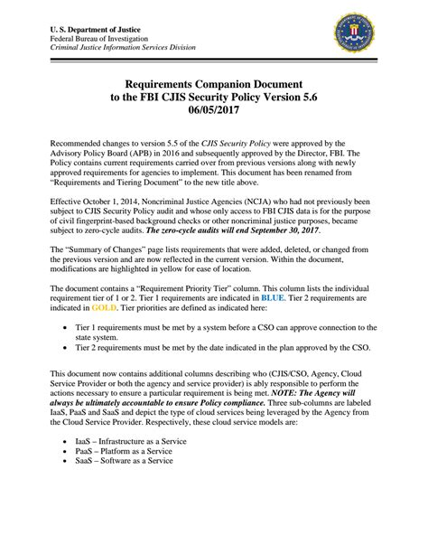 cjis security policy requirements document fbi