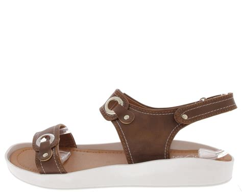 wholesale fashion shoes scope13 studded buckle top stitch flat sandals only