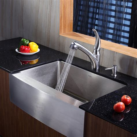 Affordable Kitchen Faucets by Kraus Khf20030kpf2110sd20 30 Quot Stainless Steel Single Bowl