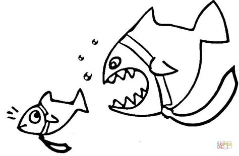 dangerous piranha coloring page free printable coloring