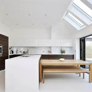 Kitchen Bench Extension Ideas Sleek White And Warm Timber Kitchen Kitchen Extension