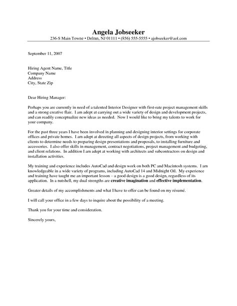 outstanding cover letter examples interior design cover