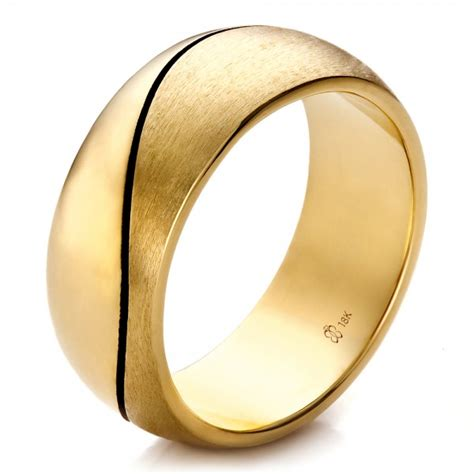 mens gold wedding bands custom yellow gold brushed and polished s wedding band