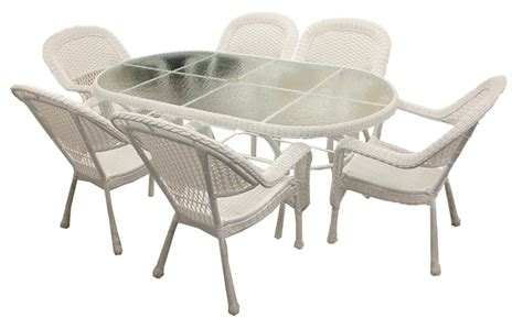 white resin wicker patio dining set chairs and table