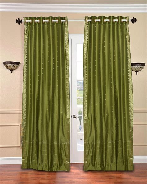 Olive Green Curtains Drapes Olive Green Ring Top Sheer Sari Curtain Drape Panel Ebay