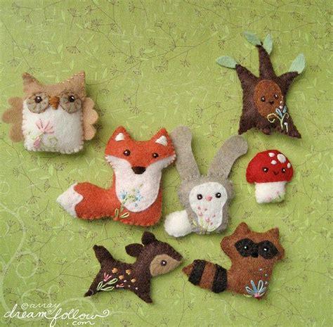 pattern for felt woodland animals cute little woodland creatures felt felting pinterest