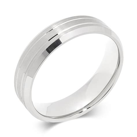 palladium brushed and grooved wedding ring pravins jewellers