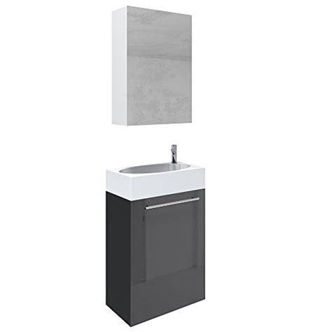 spiegelschrank 45 cm badm 246 bel set 45cm schwarz hochglanz mdf waschtisch