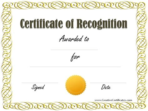Certificate Of Recognition Template Beepmunk Customizable Certificate Templates Free