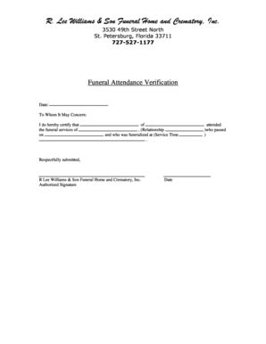 funeral attendance card template funeral attendance form fill printable fillable