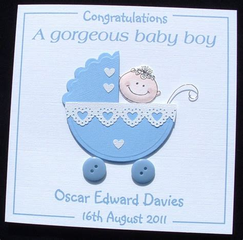 personalised handmade new baby boy card congratulations a new