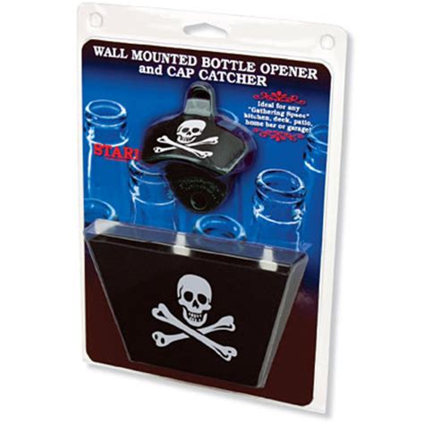 bottle opener and cap catcher set skull and crossbones bottle opener cap catcher set