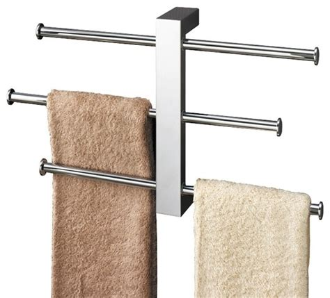 Bathroom Towel Bar Ideas by Polished Chrome Towel Rack With 3 Sliding Rails