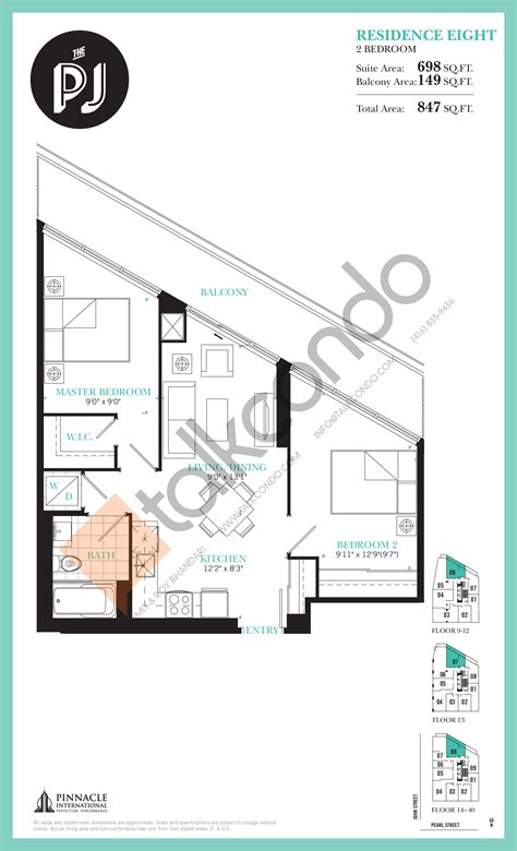 Condo Floor Plans Toronto by The Pj Condos Talkcondo