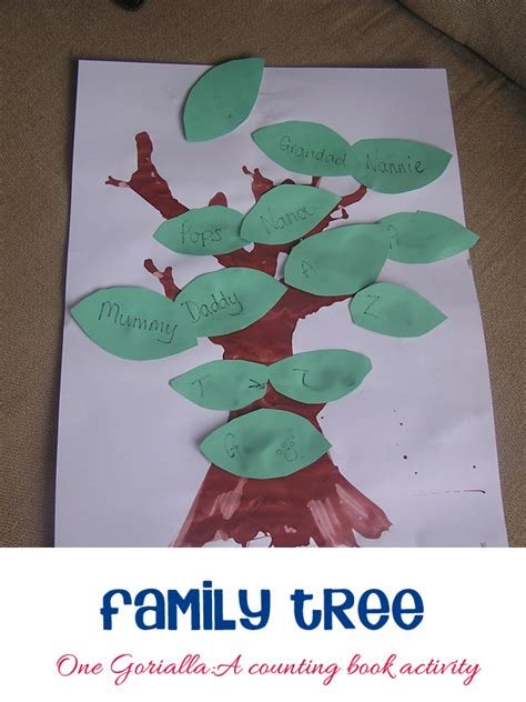 family themed crafts for a family tree activity to go with one gorilla by anthony