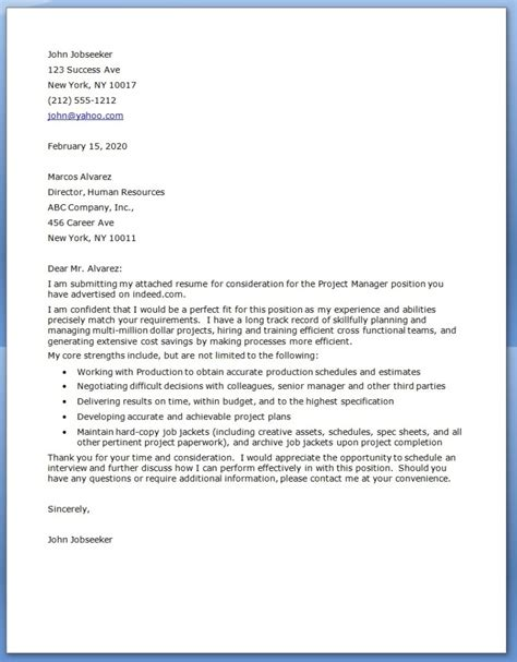 Cover Letter For Manager project manager cover letter exles resume downloads