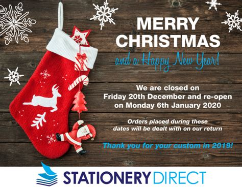 christmas closure   stationery direct