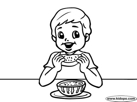 eating watermelon coloring page