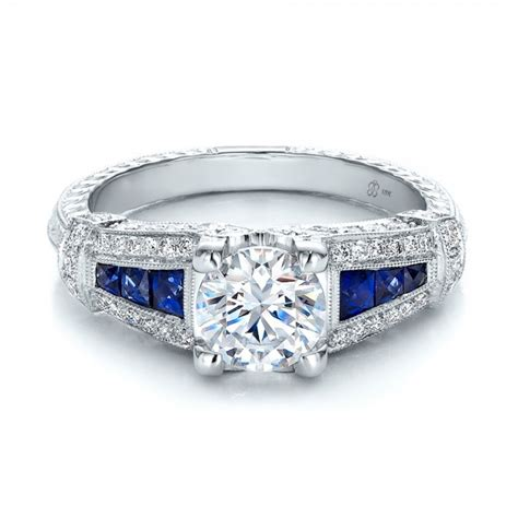 deco style engagement ring deco style blue sapphire and engagement ring 100388