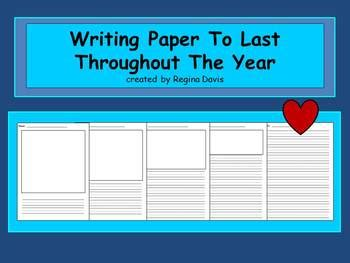new year lined writing paper a writing paper for the year picture box lined writing