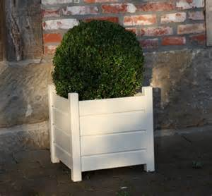 painted white wooden cubed garden planters