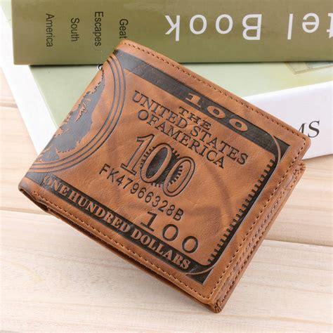 us dollar bill wallet brown pu leather wallet bifold