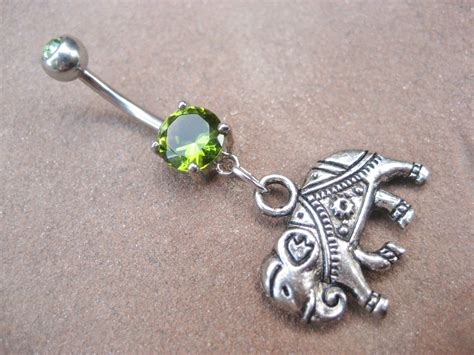 belly button ring jewelry elephant belly button ring emerald