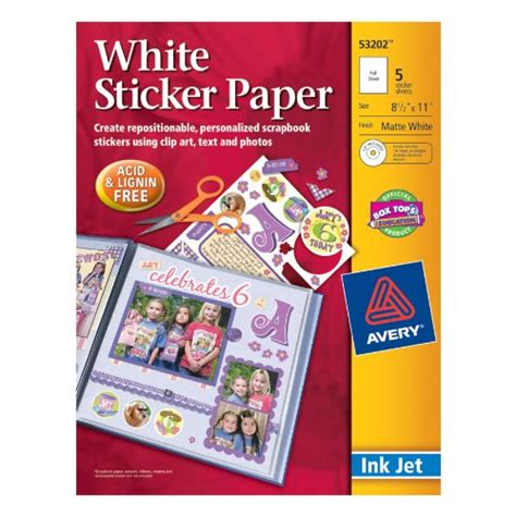 silhouette printable sticker paper 8 5 x 11 10 pkg kraft avery sticker paper 8 5 x 11 inches white pack of 5