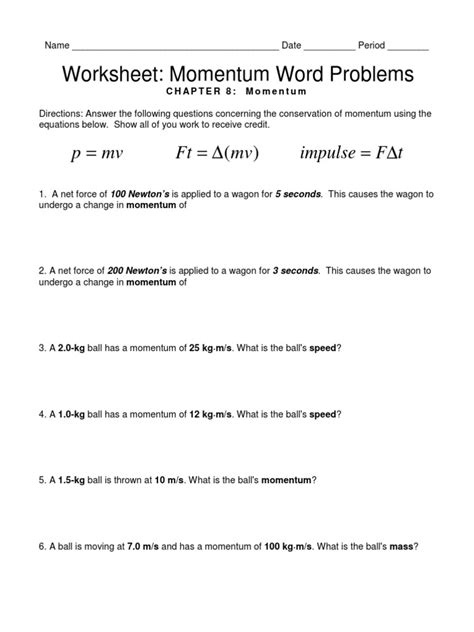 Conservation Of Momentum Worksheet Answers by Momentum Worksheet Answer Key Worksheets Releaseboard