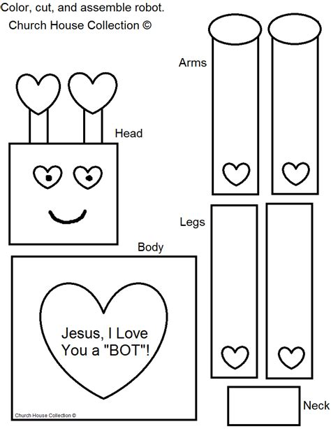 craft templates free church house collection robot craft for