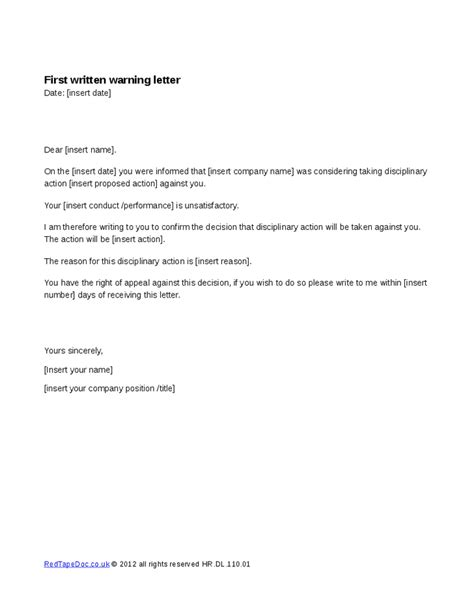 written notice template uk sle of a warning letter for absent sle warning