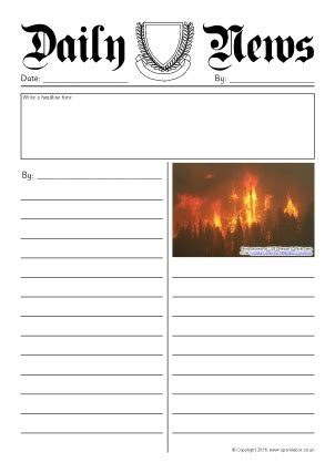 newspaper writing frames and printable page borders ks1